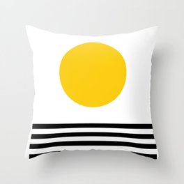 Midcentury Yellow Minimalist Sunset With Black Stripes Throw Pillow