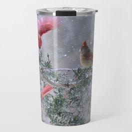 Cardinals Jostling on a Branch in a Snow Storm Travel Mug