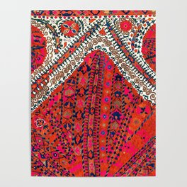 Pink Wildflower Sunshine III // 18th Century Colorful Pinkish Red Blue Sapphire Metallic Happy Patte Poster