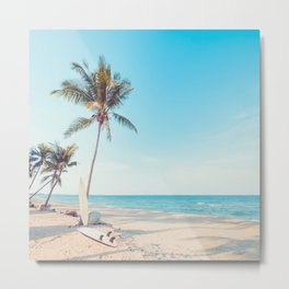 Surfboards on the Beach Metal Print