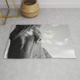 Close Up Horse Picture in Black and White Rug