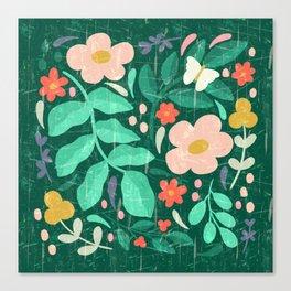 Dark Forest Wildflowers in Green Canvas Print