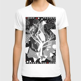 black and white abstract with touch of red T-shirt