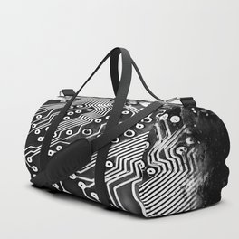 platine board conductor tracks splatter watercolor black white Duffle Bag
