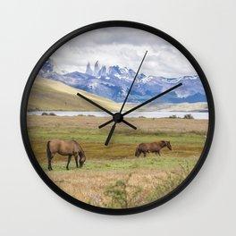Torres del Paine - Wild Horses Wall Clock