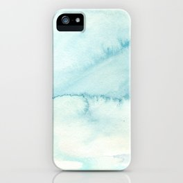 Abstract hand painted blue teal watercolor paint pattern iPhone Case