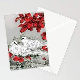 Vintage White Doves and Red Leaves on Gray / Grey Stationery Cards
