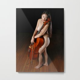 0199-JC Nude Cellist with Her Cello and Bow Naked Young Woman Musician Art Sexy Erotic Sweet Sensual Metal Print