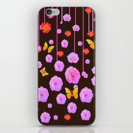 YELLOW BUTTERFLIES AMONG  FLOATING PINK  ROSES iPhone Skin