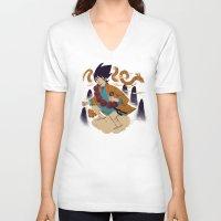 dragonball V-neck T-shirts featuring woodblockkakarot by Louis Roskosch