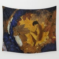doberman Wall Tapestries featuring Autumn by Кaterina Кalinich