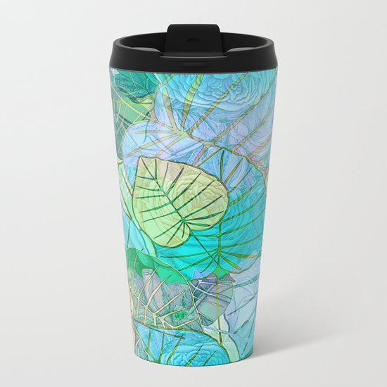 Leaves in Rosy Background 2 Metal Travel Mug