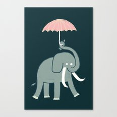Elephant with umbrella Canvas Print