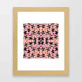 Pink And Black With Colored Circles Framed Art Print