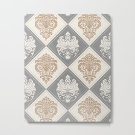 Royal Damask Pattern – Neutral Brown and Gray Earth Tones Metal Print