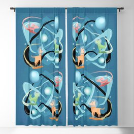 Atomic Rocket Powered Space Dogs Blackout Curtain