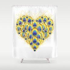 Peacock Heart Shower Curtain