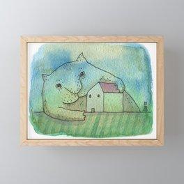 Outside cat Framed Mini Art Print
