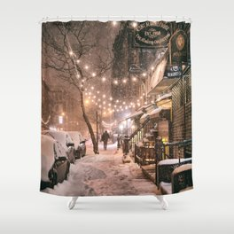 Snow - New York City - East Village Shower Curtain