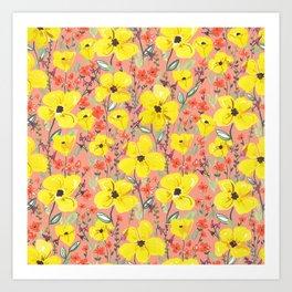 Yellow meadow flowers pattern Art Print