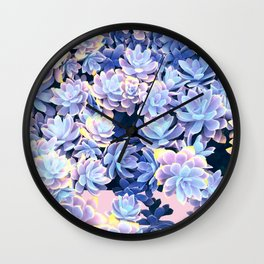 Cactus Fall - Blue and Pink Wall Clock