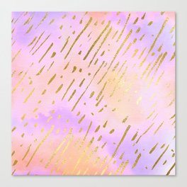 Pastels In Gold Stipes Canvas Print