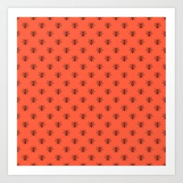Black Bees on Living Coral Peach Art Print