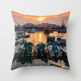 Sunset, Cheung Chau Island, Hong Kong Throw Pillow