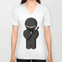bow V-neck T-shirts featuring Ninja Bow by Shyam13