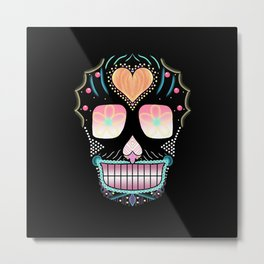 Glow Abstract Sugar Skull Metal Print