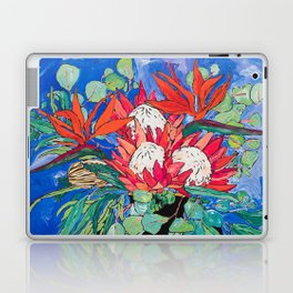 Tropical Protea Bouquet with Toucans in Greek Horse Urn on Ultramarine Blue Laptop & iPad Skin