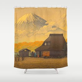 Vintage Japanese Woodblock Print Sepia Japanese Farm Mount Fuji Farmer Shower Curtain