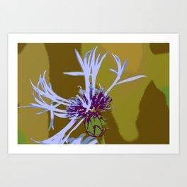 Cornflour Blue Flower Graphic Pop Art Art Print