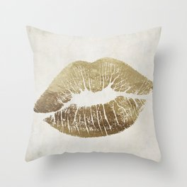 Hollywood Kiss Gold Throw Pillow
