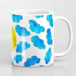 Cute blue cartoon clouds and sun. Coffee Mug