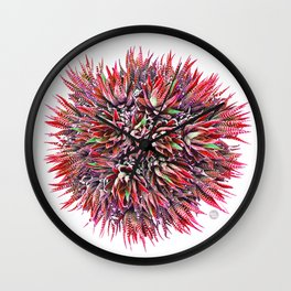 Cactus Crown 1. Red & Green on White #decor #Christmas Wall Clock