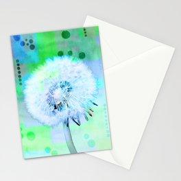 Wishing dandelion flower digital photo design Stationery Cards