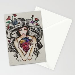 be still my beating heart anitomical love valentine tattoo brunette Stationery Cards