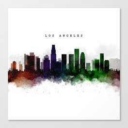 Los Angeles Watercolor Skyline Canvas Print
