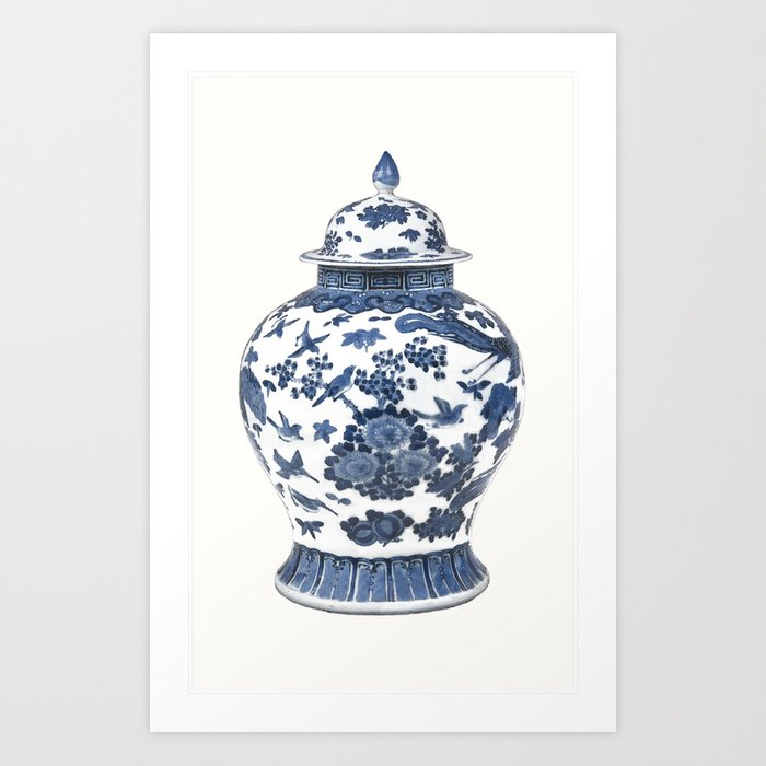Blue White Chinoiserie Porcelain Ginger Jar With Birds Flowers Art Print