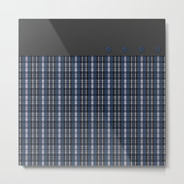 Blue grey plaid pattern Metal Print