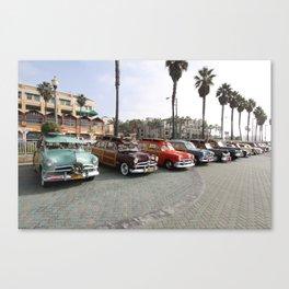 Beach Woodys Cars  Canvas Print
