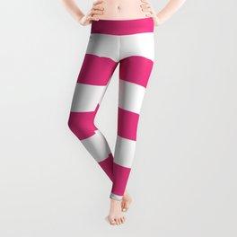 Cerise pink - solid color - white stripes pattern Leggings