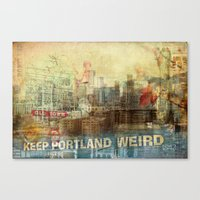 portlandia Canvas Prints featuring Portlandia by Danielle Denham