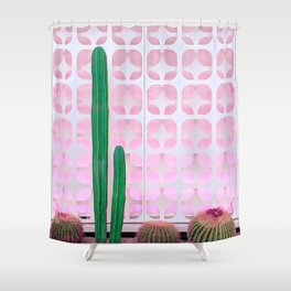 Mexican Fence Post and Barrel Cactus with Mid-Century Background Pattern Shower Curtain