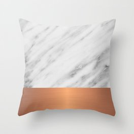 Carrara Italian Marble Holiday Rose Gold Edition Throw Pillow