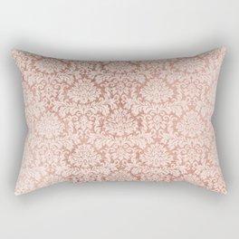 Vintage white faux rose gold elegant floral damask Rectangular Pillow