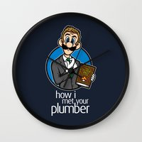 how i met your mother Wall Clocks featuring How I Met Your Plumber by Mike Handy Art