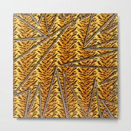 Abstract shapes with tiger skin background Metal Print