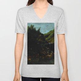 "Gustave Courbet ""Cascade in a Rocky Landscape"" Unisex V-Neck"